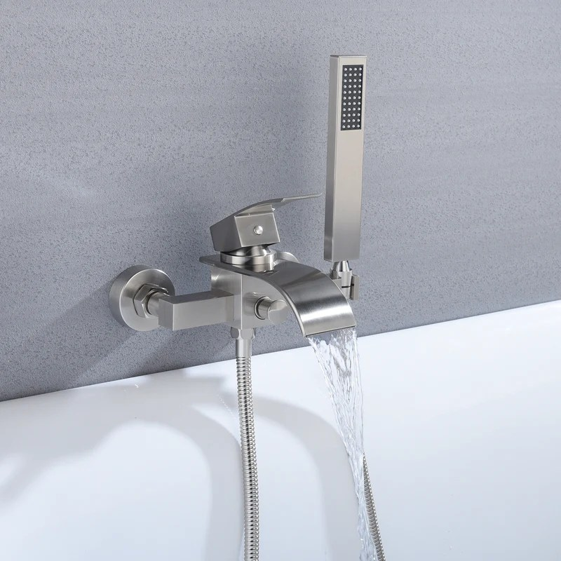 waterfall wall mount bath tub filler faucet with handheld shower brushed nickel