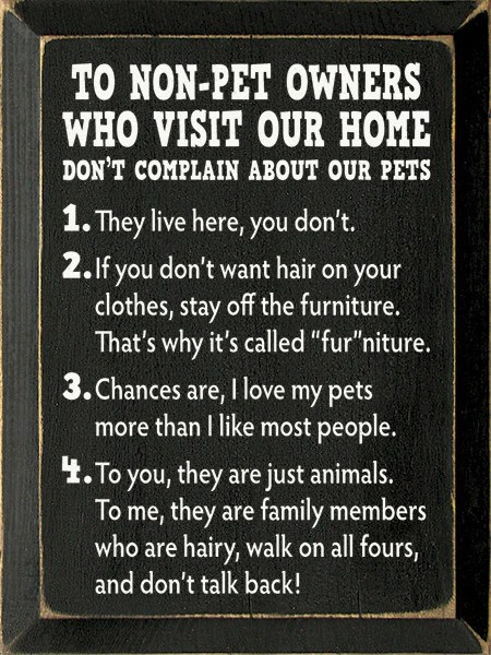 To Non Pet Owners Who Visit Our Home Wood Sign 9x12