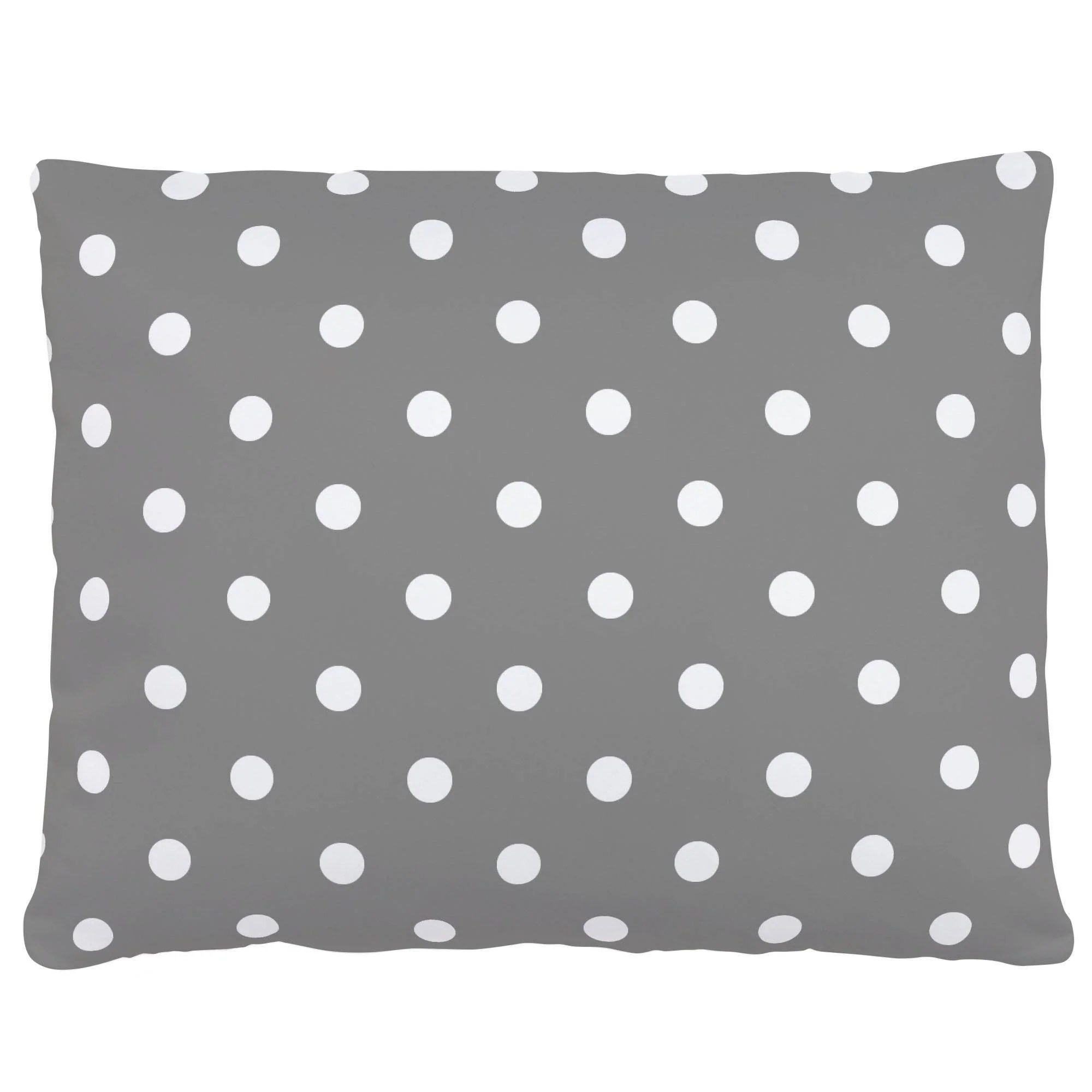 gray and white polka dot accent pillow