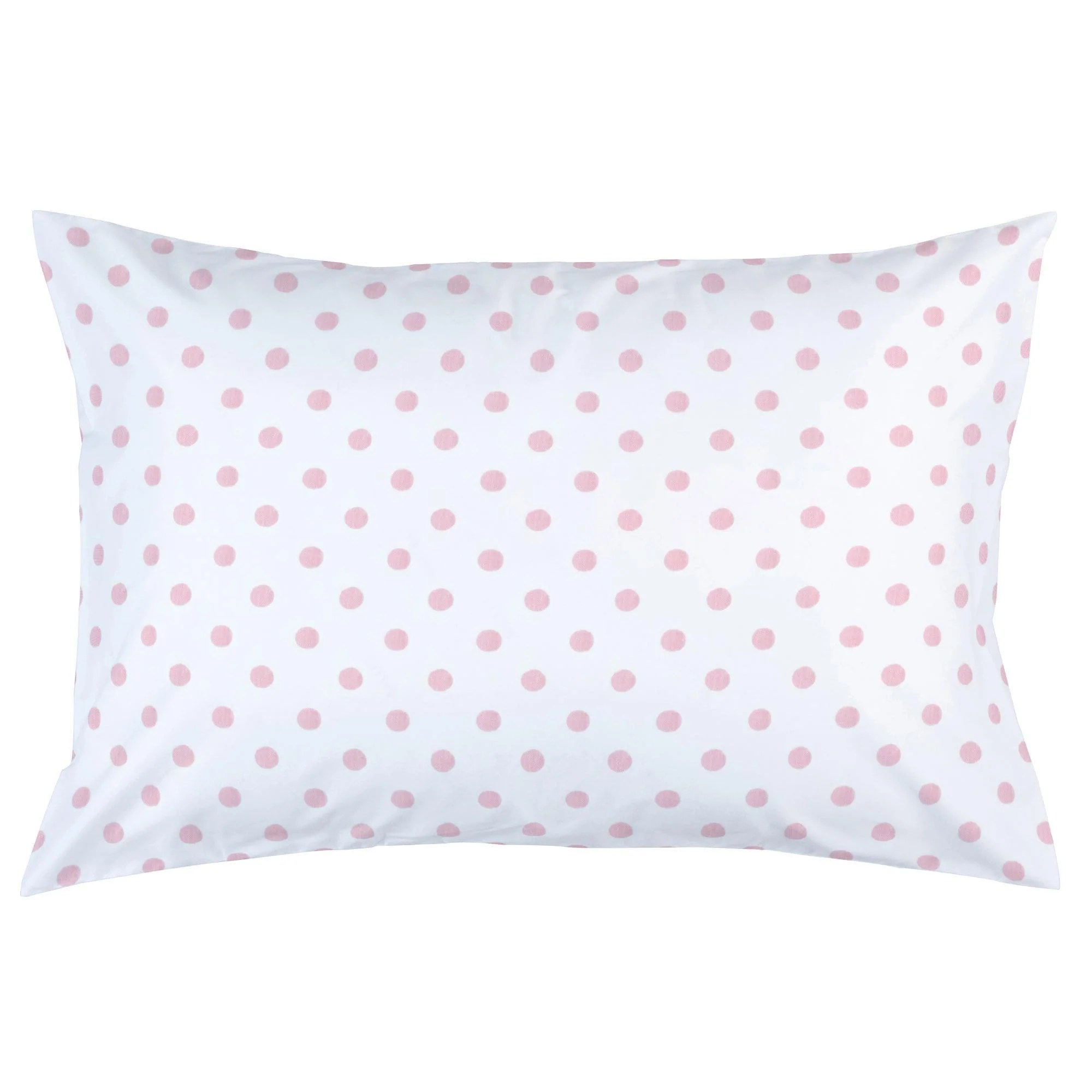 white and pink polka dot pillow case