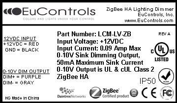 zigbee certified 12vdc indoor lighting controller low voltage dimming ul listed