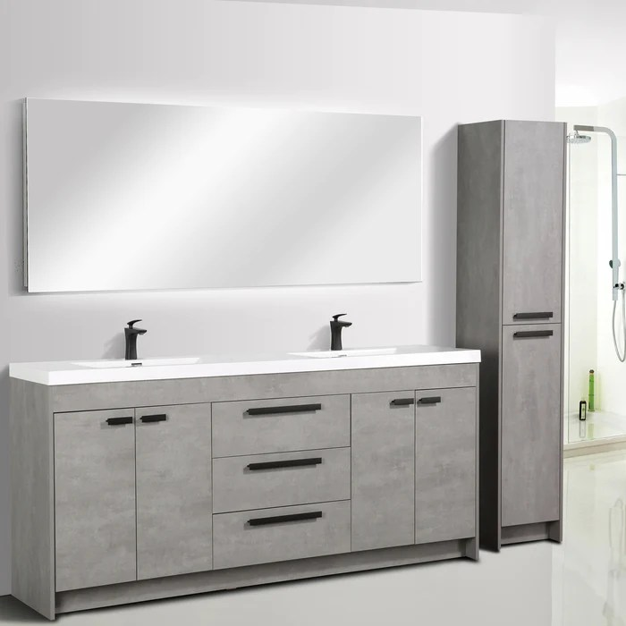 eviva lugano 84 inch cement gray modern double sink bathroom vanity with white integrated acrylic top