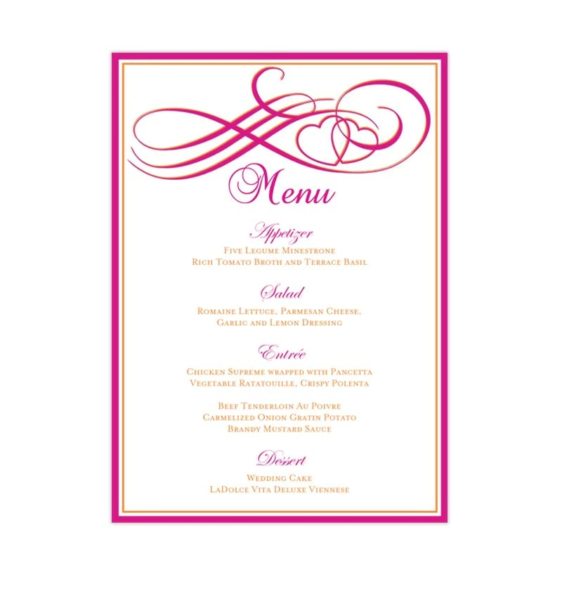 Wedding Reception Menu Template Two Hearts Become One Fuchsia Pink And Orange