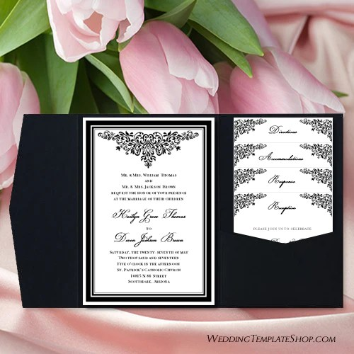 pocket fold wedding invitations anna maria black white 5x7