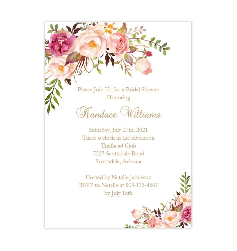 Bridal Shower Invitation Template Romantic Blossoms Printable Diy