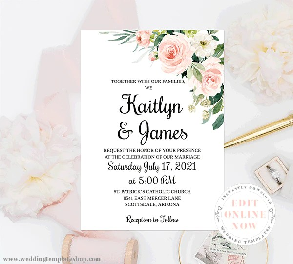 Wedding Invitation Template Blush Florals Edit Online Download Print