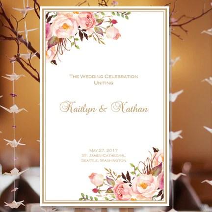Wedding Program Template Romantic Blossoms Diy Printable Wedding Template Shop
