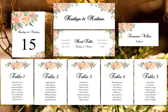 Wedding Seating Chart Set Jasmines Garden DIY Templates Wedding Template Shop