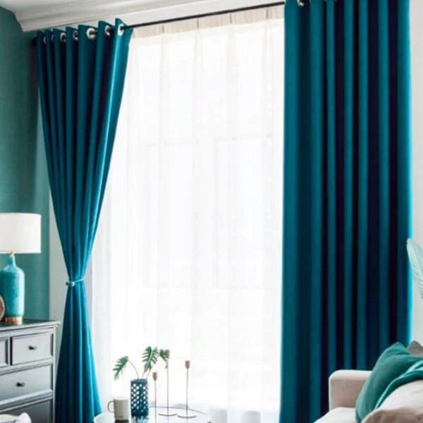 rideau thermique bleu et vert fonce giwa
