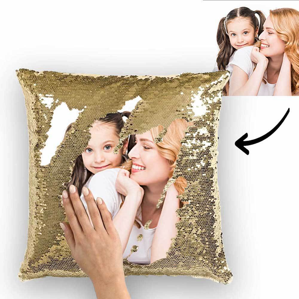 mother s day gifts custom sequin pillow couple photo personalized magic sequins pillow multicolor shiny 15 75 15 75 for mom