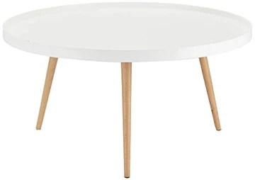 Furnhouse Moderne Scandinave Rétro Vintage Design Blanc Table à café Opus, Couleur Naturelle Hêtre Massif Pieds, 90x90x45