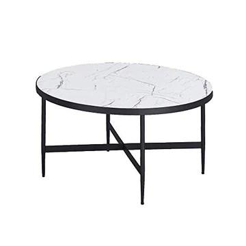 MOBILIER DECO Table Basse en Verre Ronde Imitation Marbre Et Méta lSALOME