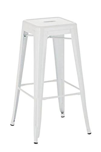 CLP Tabouret de Bar Joshua - Tabouret de Bar Industriel Empilable et Robuste - Repose-Pied Structure à 4 Pieds - Hauteur Siège 77 cm - Couleurs, Couleurs:Blanc