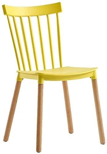 FHW Chaise de salle à manger plastiques (2ps), Tea Shop/Lazy/Bureau/Salle de réunion, Chaise en bois massif chaise (Color : Yellow, Size : 43x54x80CM)