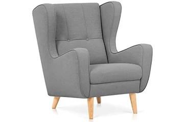 Confort24 Doris Fauteuil Salon Living Room Chambre Allaitement Relax Scandinave Pieds Bois (Gris)