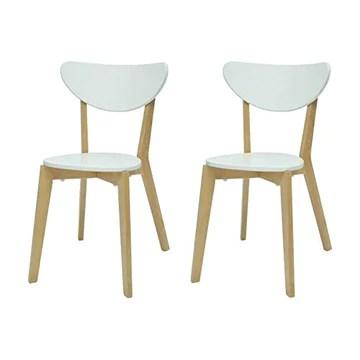 Générique Smiley Lot de 2 chaises de Salle a Manger - Bois Naturel et Blanc