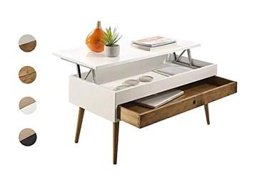 Hogar24 ES Table basse relevable style vintage avec tiroir coulissant en bois massif Blanc/bois naturel 100 x 50 x 47 cm