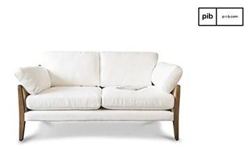 pib Canapé Vintage Ariston Blanc - Bois Massif, Grand Confort d'assise, Matériaux Nobles, Finition Vernie | L'élégance d'un canapé scandinave au Design Vintage - Blanc Creme (L167 x H83 x P91 cm)