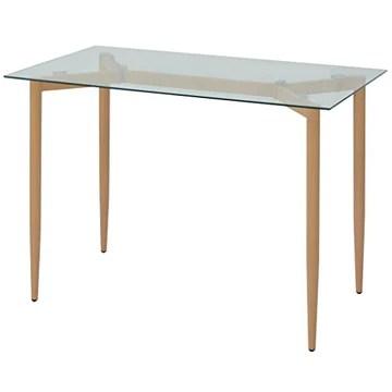 Festnight Tables de Salle à Manger en Bois avec Verre Transparent 120 x 70 x 75 cm