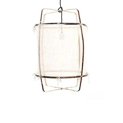 WnLit Lampe Suspension Japonais Lignes minimalistes Bambou éclairage LED Suspendus Tricot Main lumières Cuisine Salle à Manger Lampe Tissu Suspendu E27 Lustre Vie de la Lampe de Chambre,Beige,S