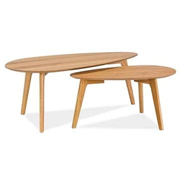 SIGNAL MEBLE Tables gigognes - Set de 2 - Milan L2 - Design scandinave - Couleur chêne