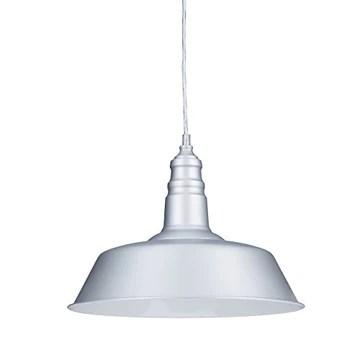 Relaxdays Suspension luminaire abat-jour en métal avec couleur tendance HxlxP: 116 x 36 x 36 cm lampe style industriel hauteur réglable, gris