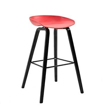 LLYU Tabouret de bar créatif moderne minimaliste haute tabourets de mode chaise de bar nordique maison solide bois haut tabouret (Color : Red)