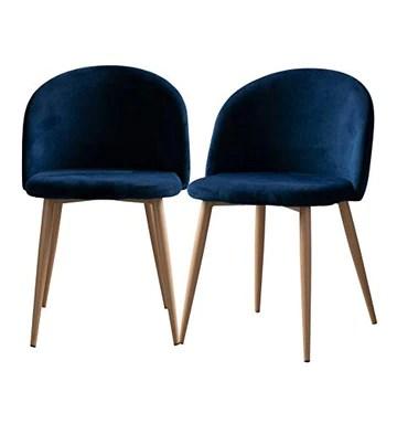 Icons Corner Lot de 2 fauteuils en velours Bleu vintage Piaf