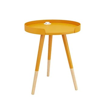 Lucky star Table End en Bois Massif avec Chargeur et Plateau for Petites Table Ronde Canapé Table d'appoint Table de Chevet Table Mini-Coin Table Salon Moderne Snack Table Basse (Couleur : Jaune)