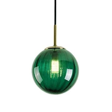 LFsem Plafonnier Simple Tête Coloré Ø15cm Globe En Verre Suspension E27 Loft Chambre Restaurant Suspension Lustre Simple Moderne (Vert Foncé)