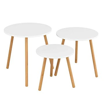 Homfa Lot de 3 Table Basses gigognes Table à café Table d'Appoint Scandinave (Ronde)
