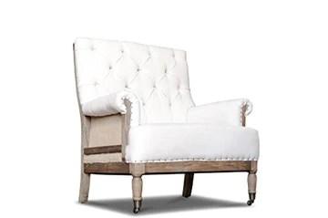 Fauteuil Vintage en Lin Edmond - Bois Massif, Bois Ancien, Grand Confort d'assise, Finition brossée | Structure apparente pour Une élégance Tout en simplicité - Beige (L77 x H88 x P78 cm)
