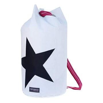 Sac de Seesack CANVASCO Seasick L/Sac Blanc/Motif étoile Noir
