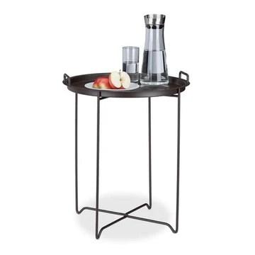 Relaxdays 10020503 Table d'appoint HxlxP: 54,5 x 45 x 45 cm petite table de service plateau amovible déco métal table cocktail table pliante, Marron