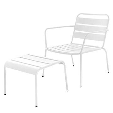 Tousmesmeubles Chaise + Tabouret Acier Blanc - TIPUTA - L 64 x l 71 x H 73 - Neuf