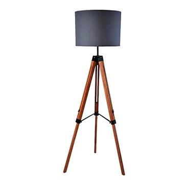 FORWIN Lampadaire- Solide Bois Trois Pieds Lampadaire Salon Chambre Bureau Lampe Éclairage intérieur (Couleur : NOIR)