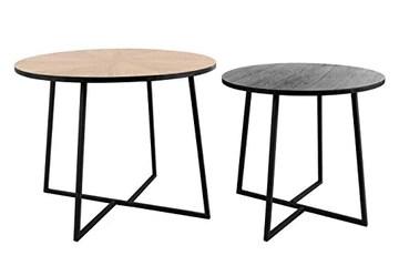 LIFA LIVING Table Basse Ronde Bois et métal Noir, Lot de 2 Tables gigognes scandinaves Hauteur 50 cm et 40 cm, Table d'appoint Industrielle pour Salon