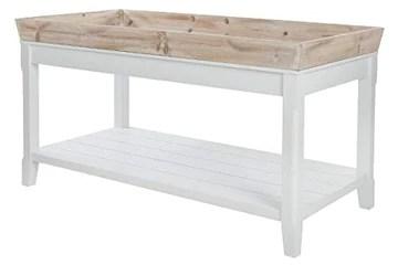 My Flair Tables Basses, MDF, placage, Blanc, Bois Vieilli, 55 x 100 cm