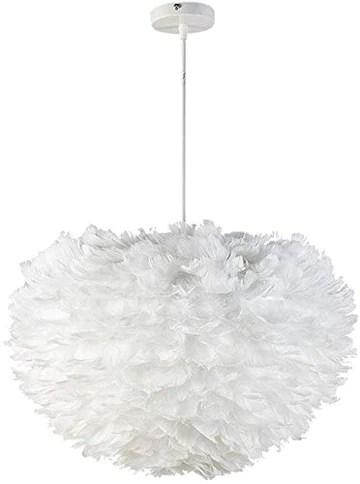 1yess Plume de la Lampe Nordique Chambre Natural Ended Moderne Simple Salle à Manger Chambre créative Plume de la Lampe (Couleur : Blanc, Taille : 60 x 60 cm) (Couleur : Blanc)
