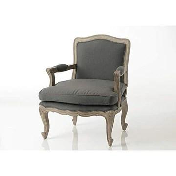 Amadeus Fauteuil Bergère Style Classique Chic Tissu Gris