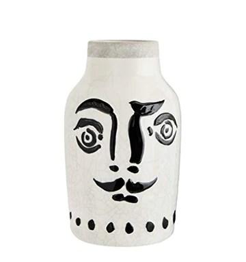 Madam Stoltz Vase avec visage Blanc avec peinture noire 16 x 28 cm