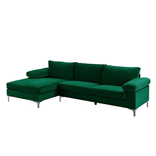 BHDesign Amanda - Canapé d'angle Moderne 5 Places - Tissu Velours - Coloris Vert