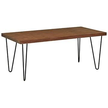 Marque Amazon - Rivet - Table de salle à manger aux pieds ultra-fins et au look industriel, largeur 180 cm, Noyer et noir
