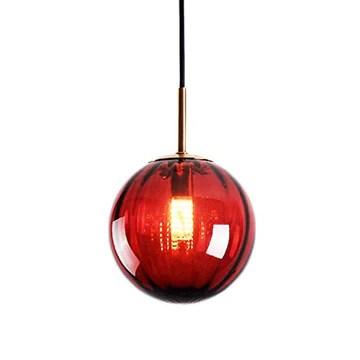 LFsem Plafonnier Simple Tête Coloré Ø15cm Globe En Verre Suspension E27 Loft Chambre Restaurant Suspension Lustre Simple Moderne (Rouge)
