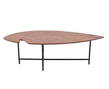 Marque Amazon - Rivet - Table d'appoint en forme de feuille, en noyer et à base en métal noir, 120 x 60 x 36 cm
