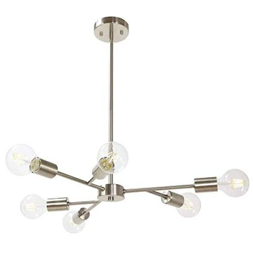 Suspension LED Moderne Spoutnik Luminaire Salon Salle à Manger Plafonnier 6 Lumières Industriel Métal Lustre