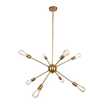 ENCOFT Sputnik Lustre Moderne 8 Lumières E27 Base, Suspension Satellite Luminaire en Métal Lampe pour Chambre Cuisine Restaurant, Or Sans Ampoules