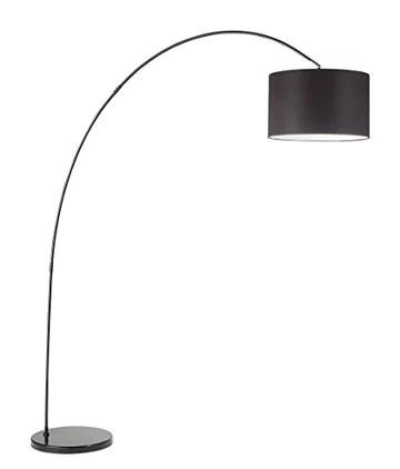Lampadaire à arc modèle 6304N Perenz Cette lampe de sol est fabriquée avec une monture en métal peint blanc et abat-jour en tissu noir.
