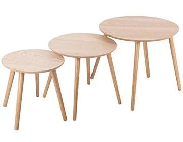 Atmosphera - Lot de 3 Tables à café Rondes en Bois mileo