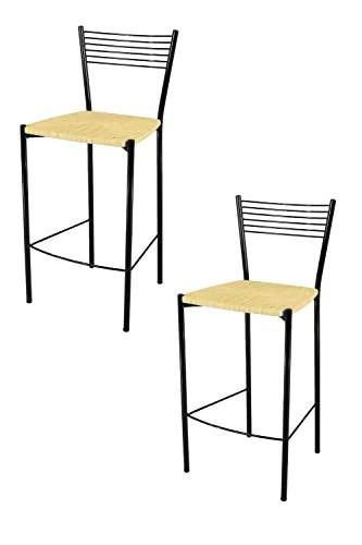 Tommychairs - Set 2 tabourets Modernes et Design Elegance pour la Cuisine et Bar, avec Structure en Acier peindré Noir et Assise en simil Paille Coleur Ivoire Natural
